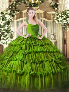 Olive Green Sleeveless Floor Length Ruffled Layers Zipper Quinceanera Gown