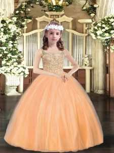 Orange Ball Gowns Beading Little Girls Pageant Dress Wholesale Lace Up Tulle Sleeveless Floor Length