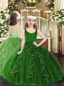 Dark Green Scoop Zipper Beading and Ruffles Pageant Dress for Girls Sleeveless