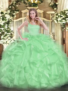 Romantic Straps Neckline Beading and Ruffles 15 Quinceanera Dress Sleeveless Zipper