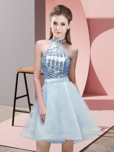 Free and Easy Light Blue Sleeveless Chiffon Backless Quinceanera Court Dresses for Prom and Party and Wedding Party