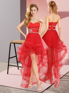 Red A-line Sweetheart Sleeveless Tulle High Low Lace Up Beading Vestidos de Damas