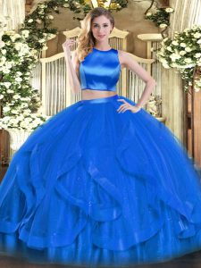 Decent Blue Tulle Criss Cross High-neck Sleeveless Floor Length Quince Ball Gowns Ruffles