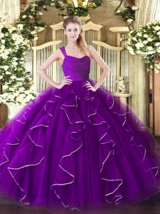 Custom Design Purple Organza Zipper 15th Birthday Dress Sleeveless Floor Length Ruffles