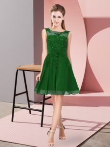Sophisticated Appliques Quinceanera Court of Honor Dress Dark Green Zipper Sleeveless Knee Length