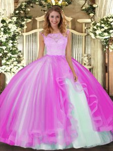 Fuchsia Scoop Clasp Handle Lace and Ruffles Vestidos de Quinceanera Sleeveless