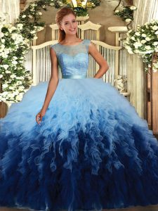 Gorgeous Multi-color Ball Gowns Beading and Ruffles Sweet 16 Quinceanera Dress Backless Tulle Sleeveless Floor Length