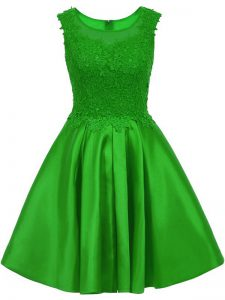 Flare Mini Length Green Dama Dress for Quinceanera Satin Sleeveless Lace