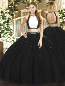 Black Two Pieces Ruching Quinceanera Gowns Backless Tulle Sleeveless Floor Length