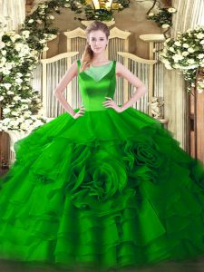Spectacular Green Scoop Neckline Beading and Ruffled Layers Quinceanera Gown Sleeveless Zipper