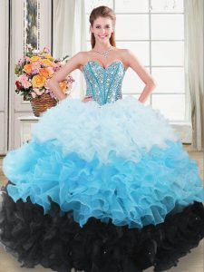 New Style Multi-color Sleeveless Floor Length Beading and Ruffles Lace Up 15th Birthday Dress