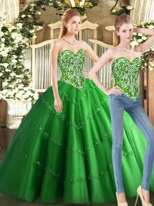 Green 15 Quinceanera Dress Military Ball and Sweet 16 and Quinceanera with Beading Sweetheart Sleeveless Lace Up