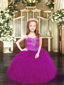 Fuchsia Organza Lace Up Winning Pageant Gowns Sleeveless Floor Length Beading and Ruffles