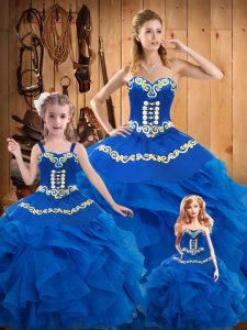 Traditional Tulle Sleeveless Floor Length Quinceanera Gown and Embroidery