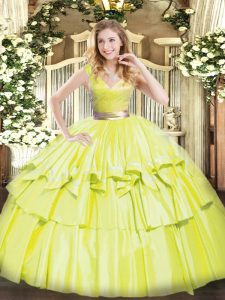 Flare Sleeveless Zipper Floor Length Beading and Ruffled Layers Sweet 16 Quinceanera Dress