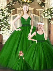 Hot Sale Floor Length Green Quinceanera Gown Tulle Sleeveless Embroidery