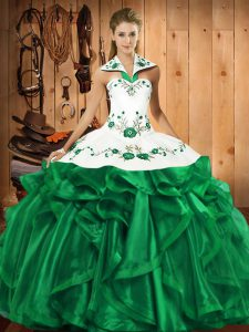 Superior Sleeveless Embroidery and Ruffles Lace Up Quinceanera Dresses
