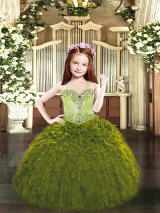 Floor Length Lace Up Kids Formal Wear Olive Green for Party and Quinceanera with Beading and Ruffles