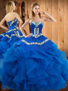 High Quality Blue Sweetheart Lace Up Embroidery and Ruffles Ball Gown Prom Dress Sleeveless