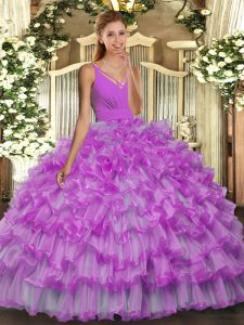 Lilac Ball Gowns Beading and Ruffles Quinceanera Dress Backless Organza Sleeveless Floor Length