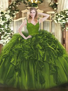 Olive Green Ball Gowns Beading and Lace and Ruffles Quinceanera Gowns Backless Organza Sleeveless Floor Length