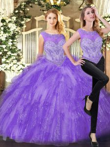 Great Eggplant Purple Organza Zipper Scoop Sleeveless Floor Length Quinceanera Dresses Beading and Ruffles