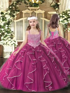 High End Floor Length Ball Gowns Sleeveless Fuchsia Little Girl Pageant Dress Lace Up
