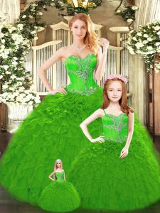 Green Sleeveless Floor Length Beading and Ruffles Lace Up 15 Quinceanera Dress
