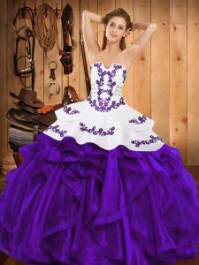 Inexpensive Purple Ball Gowns Satin and Organza Strapless Sleeveless Embroidery and Ruffles Floor Length Lace Up Quinceanera Dress
