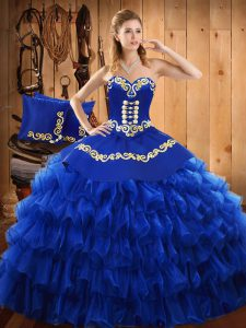 Glittering Floor Length Blue Sweet 16 Quinceanera Dress Satin and Organza Sleeveless Embroidery and Ruffled Layers