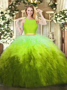 Beauteous Sleeveless Floor Length Lace and Ruffles Zipper Ball Gown Prom Dress with Olive Green