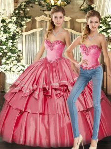 Watermelon Red Sleeveless Organza Lace Up Sweet 16 Dress for Military Ball and Sweet 16 and Quinceanera