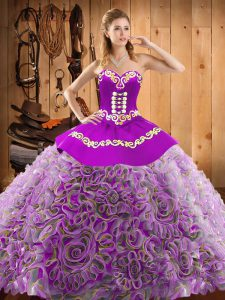 Multi-color Ball Gowns Satin and Fabric With Rolling Flowers Sweetheart Sleeveless Embroidery With Train Lace Up Quinceanera Dress Sweep Train