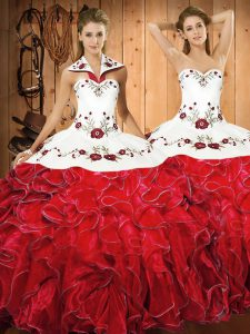 White And Red Ball Gowns Satin and Organza Halter Top Sleeveless Embroidery and Ruffles Floor Length Lace Up Quinceanera Dress