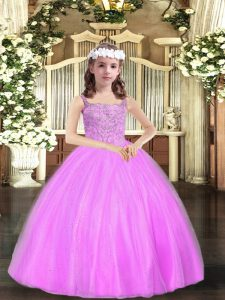 Lilac Straps Lace Up Beading Winning Pageant Gowns Sleeveless