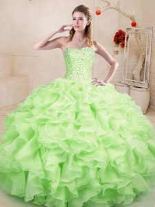 Amazing Yellow Green Organza Lace Up Sweetheart Sleeveless Floor Length Ball Gown Prom Dress Beading and Ruffles