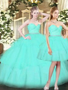 Custom Fit Aqua Blue Lace Up Quinceanera Dress Ruching Sleeveless Floor Length