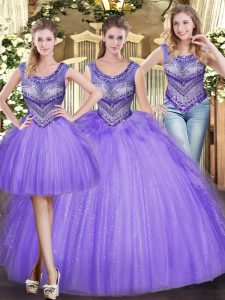 Comfortable Beading and Ruffles Quince Ball Gowns Lavender Lace Up Sleeveless Floor Length