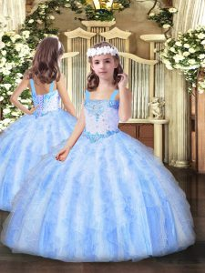 Light Blue Organza Lace Up Straps Sleeveless Floor Length Pageant Gowns For Girls Beading and Ruffles