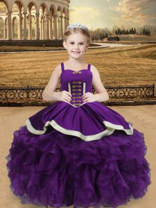 Fashion Floor Length Ball Gowns Sleeveless Eggplant Purple Winning Pageant Gowns Lace Up