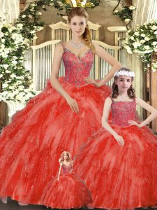 Custom Design Floor Length Lace Up Quinceanera Gowns Red for Military Ball and Sweet 16 and Quinceanera with Beading and Ruffles
