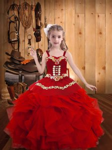 Classical Red Straps Neckline Embroidery and Ruffles Little Girl Pageant Dress Sleeveless Lace Up