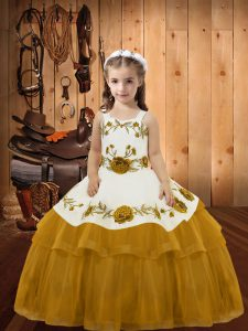 Hot Selling Ball Gowns Little Girl Pageant Dress Gold Straps Organza Sleeveless Floor Length Lace Up
