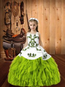 Straps Sleeveless Little Girls Pageant Dress Floor Length Beading and Embroidery Yellow Green Organza