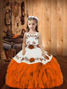 High Quality Straps Sleeveless Little Girl Pageant Gowns Floor Length Embroidery and Ruffles Orange Organza