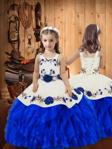 Sleeveless Lace Up Floor Length Embroidery and Ruffles Little Girl Pageant Gowns