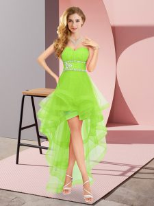 Sweetheart Sleeveless Dama Dress for Quinceanera High Low Beading Tulle