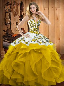 Enchanting Sweetheart Sleeveless Satin and Organza Ball Gown Prom Dress Embroidery and Ruffles Lace Up