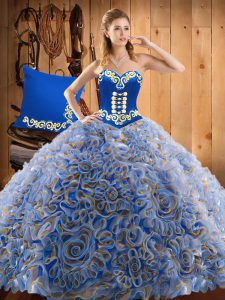 Sleeveless Sweep Train Lace Up With Train Embroidery Quinceanera Gown