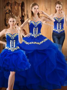 Simple Sweetheart Sleeveless Ball Gown Prom Dress Floor Length Embroidery and Ruffles Blue Satin and Organza
